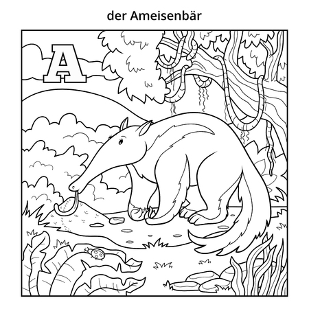 German alphabet, vector illustration (letter A). Colorless image (anteater and background)