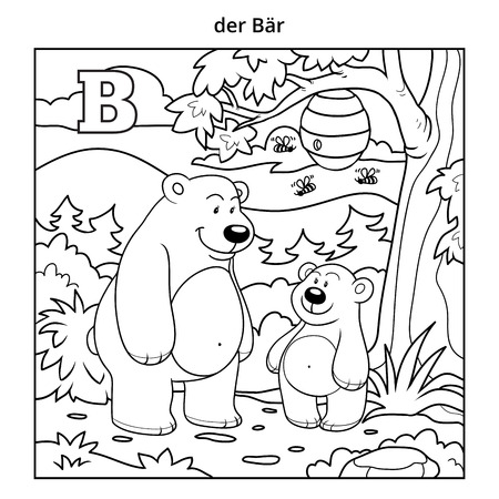 cute animals: German alphabet, vector illustration (letter B). Colorless image (bears and background) Illustration