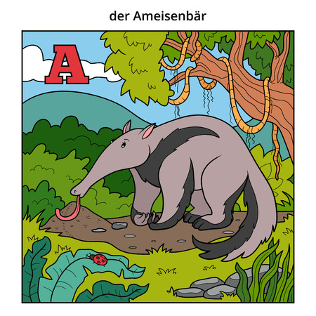 anthill: German alphabet, vector illustration (letter A). Color image (anteater and background) Illustration