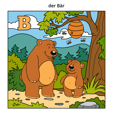 cartoon bug: German alphabet, vector illustration (letter B). Color image (bears and background)