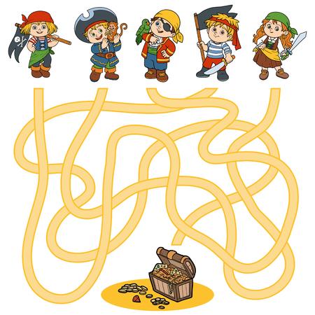 Doolhof spel, onderwijs spel voor kinderen (tekens piraten) Stock Illustratie