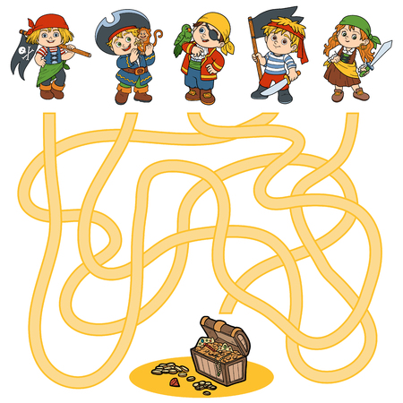 little boy and girl: Maze game, education game for children (characters of pirates)