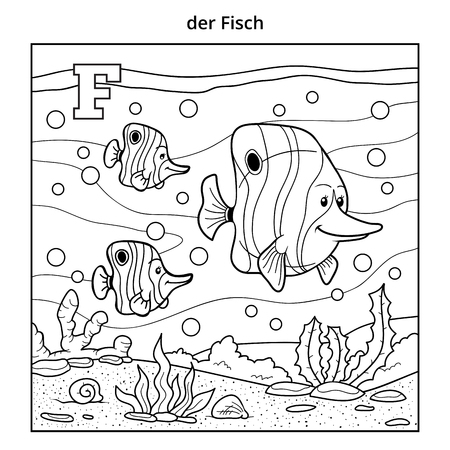 outline fish: German alphabet, vector illustration (letter F). Colorless image (fish family and background)