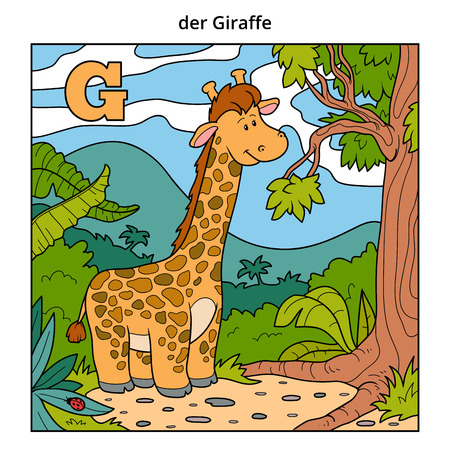 g giraffe: German alphabet, vector illustration (letter G). Color image (giraffe and background)