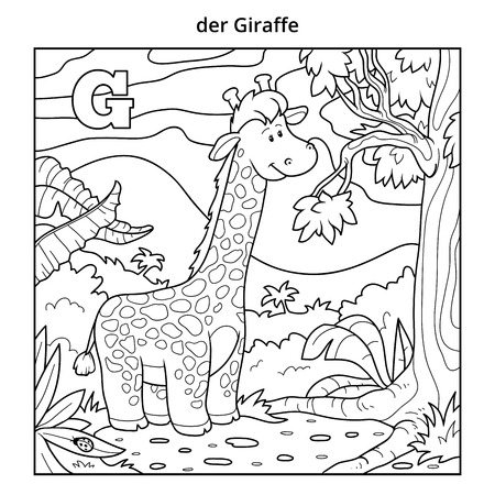 g giraffe: German alphabet, vector illustration (letter G). Colorless image (giraffe and background)
