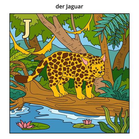 weather cartoon: German alphabet, vector illustration (letter J). Color image (jaguar and background) Illustration