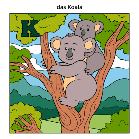 family fun: German alphabet, vector illustration (letter K). Color image (koala and background)