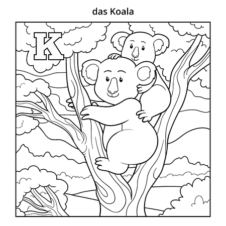 letter k: German alphabet, vector illustration (letter K). Colorless image (koala and background) Illustration