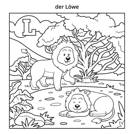 colorless: German alphabet, vector illustration (letter L). Colorless image (lions and background)