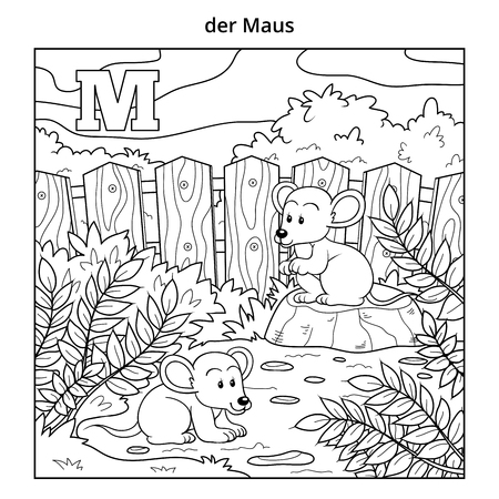 cheerful cartoon: German alphabet, vector illustration (letter M). Colorless image (mouse and background)