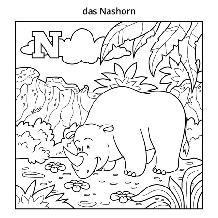 colorless: German alphabet, vector illustration (letter N). Colorless image (rhino and background)