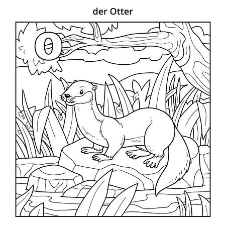 nutria caricatura: alfabeto alemán, ilustración vectorial (letra O). Imagen incoloro (nutria y fondo)