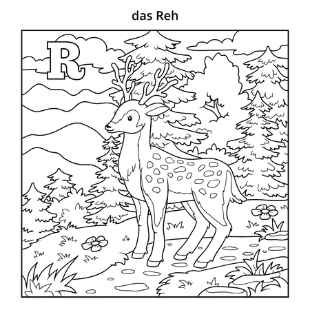 colorless: German alphabet, vector illustration (letter R). Colorless image (deer and background)