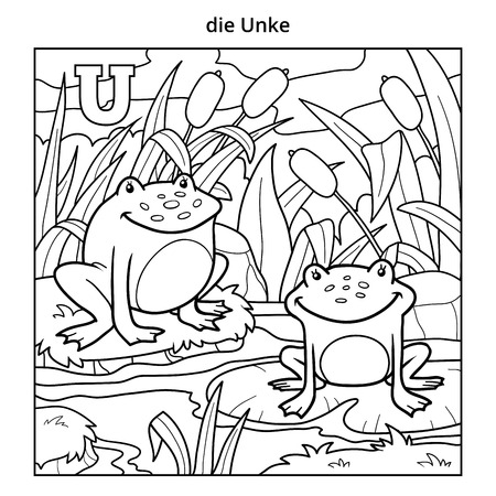 colorless: German alphabet, vector illustration (letter U). Colorless image (frogs and background)
