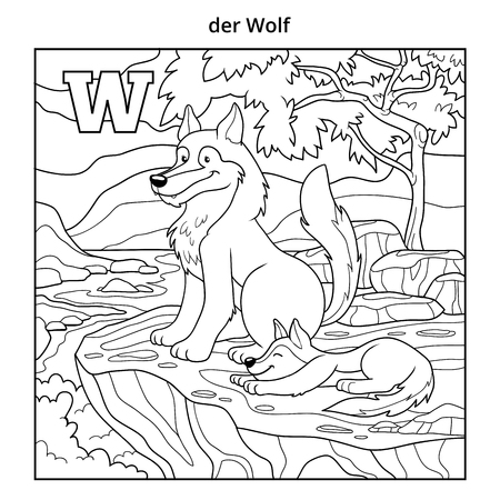 colorless: German alphabet, vector illustration (letter W). Colorless image (wolf and background)