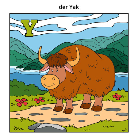 activity cartoon: German alphabet, vector illustration (letter Y). Color image (yak and background) Illustration