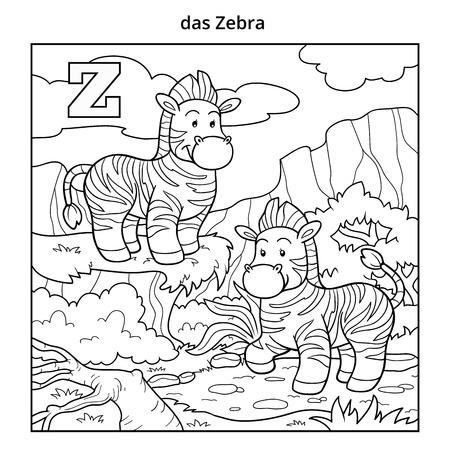 Vector Schwarz Weiß Zoo Alphabet Mit Niedlichen Tieren Auf Weißem