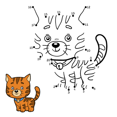 Numbers game, education game for children (ginger cat)