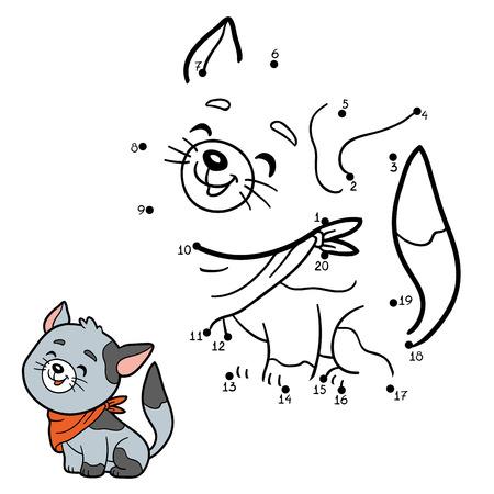 Nummers spel, onderwijs spel voor kinderen (grijze kat)