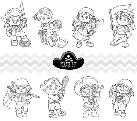 Vector set of characters pirates, colorless cartoon collection