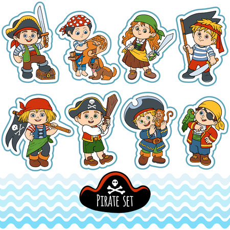 cartoon parrot: Vector set of characters pirates, color cartoon collection