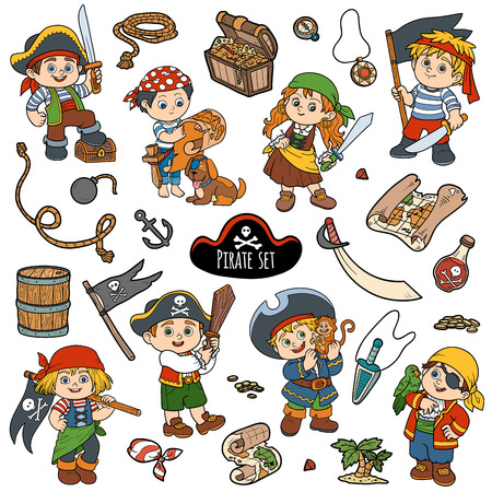 pirate girl: Vector set of pirate items, color cartoon collection, characters pirates
