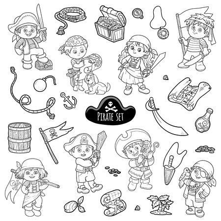 colorless: Vector set of pirate items, colorless cartoon collection, characters pirates