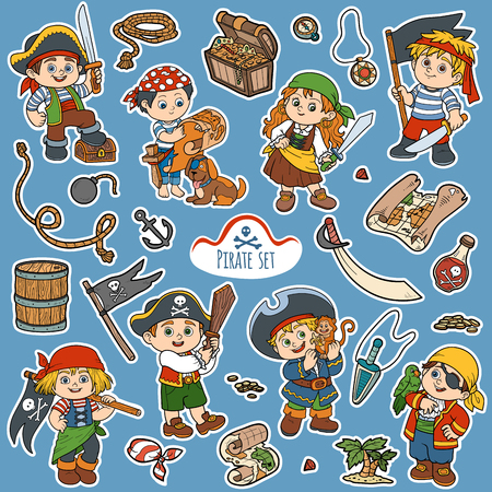 spyglass: Vector set of pirate items, color cartoon collection, characters pirates