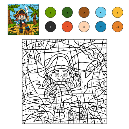 toy chest: Color by number, education game for children (pirate boy) Illustration