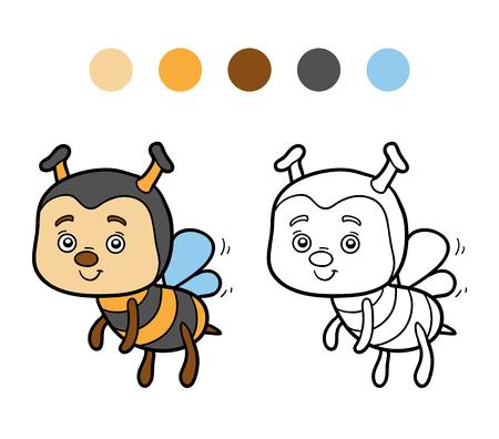 children book: Coloring book for children (bee) Illustration