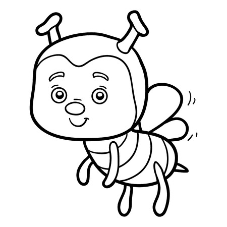 libro caricatura: libro para colorear para los niños (abeja)