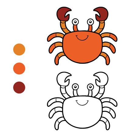 children crab: Coloring book for children (crab) Illustration