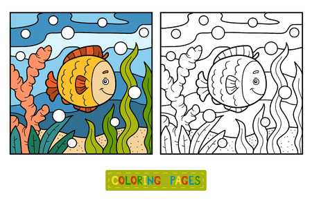 outline fish: Coloring book for children (fish and background)