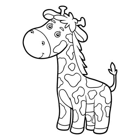 contorno: libro para colorear para los niños (jirafa) Vectores