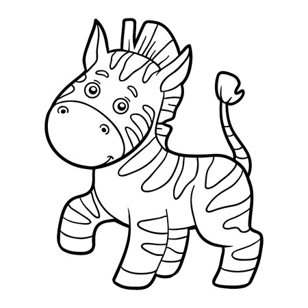 cheerful cartoon: Coloring book for children (zebra) Illustration
