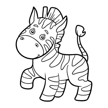 cartoon zebra: Coloring book for children (zebra) Illustration