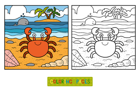 children crab: Coloring book for children (crab and background) Illustration