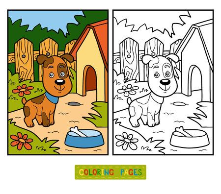 かわいい動物 (犬と背景) と子供のための塗り絵 写真素材 - 52986132