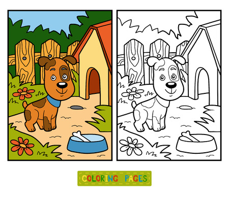 Coloring book for children with cute animals (dog and background)