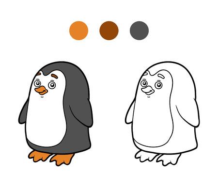 Libro Para Colorear Para Los Niños (pingüino Y Fondo) Ilustraciones ...