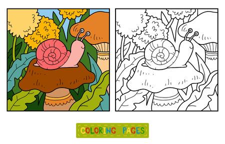 flor caricatura: libro para colorear para los niños (caracol y el fondo) Vectores