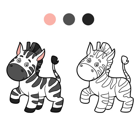 cartoon strip: Coloring book for children (zebra) Illustration