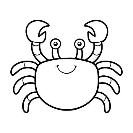 Kleurboek voor kinderen (krab) Stock Illustratie