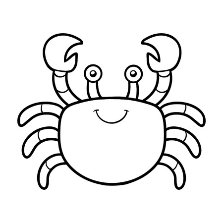 Coloring book for children (crab) Vectores