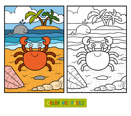 Coloring book for children with cute animals (crab and background)