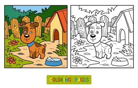 guard house: Coloring book for children (dog and background)