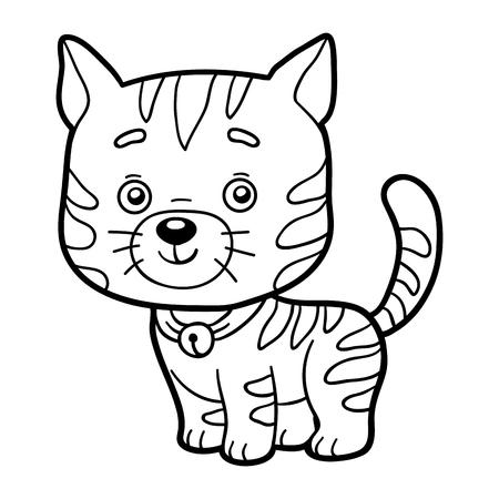 Coloring book for children (cat) Ilustração