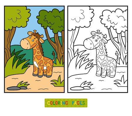 baby illustration: Coloring book for children with cute animals (giraffe and background)