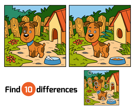 find solution: Find differences education game for children (dog)