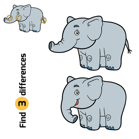 for children: Find differences, education game for children (elephant)